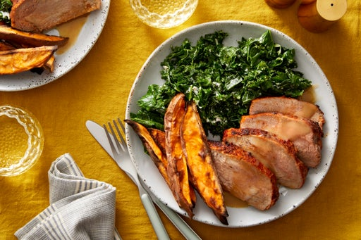 Sheet Pan Roasted Pork & Sweet Potatoes with Creamy Kale