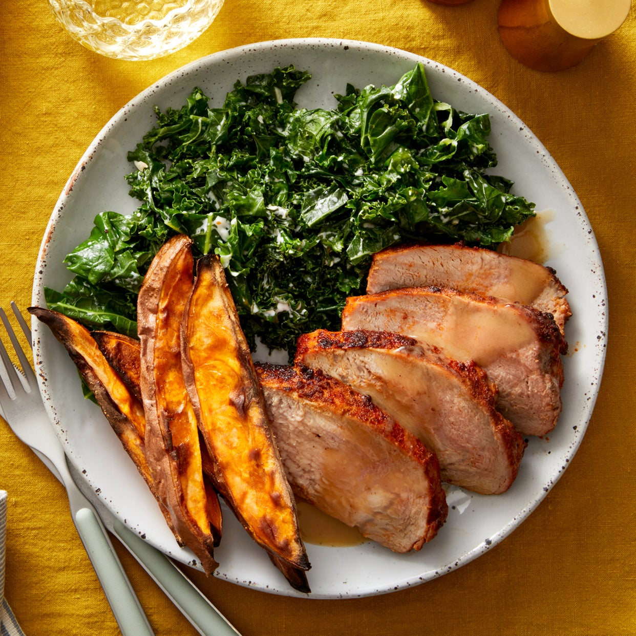 Sheet Pan Roasted Pork & Sweet Potatoes with Creamy Kale