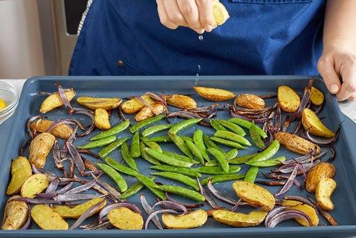 Roast the peas & finish the vegetables