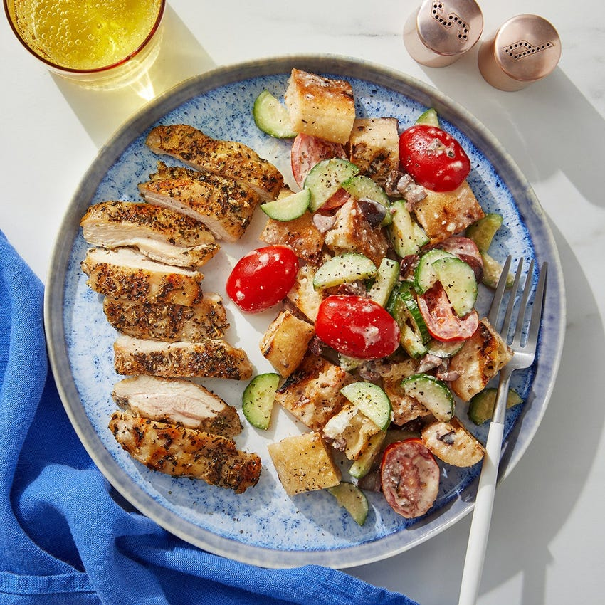 Grilled Chicken Thighs & Panzanella with Parmesan-Garlic Dressing