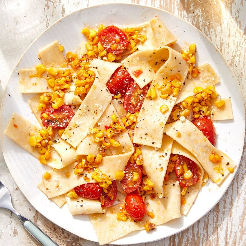 Hand-Cut Pappardelle with Corn, Tomatoes & Romano Cheese