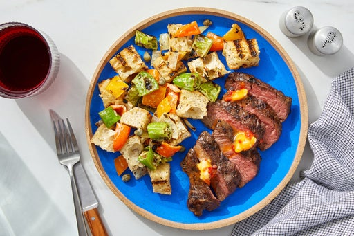 Grilled Steaks & Pepper Panzanella with Spicy Chile Butter
