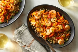 Italian-Style Shrimp & Sweet Peppers over Fregola Sarda Pasta