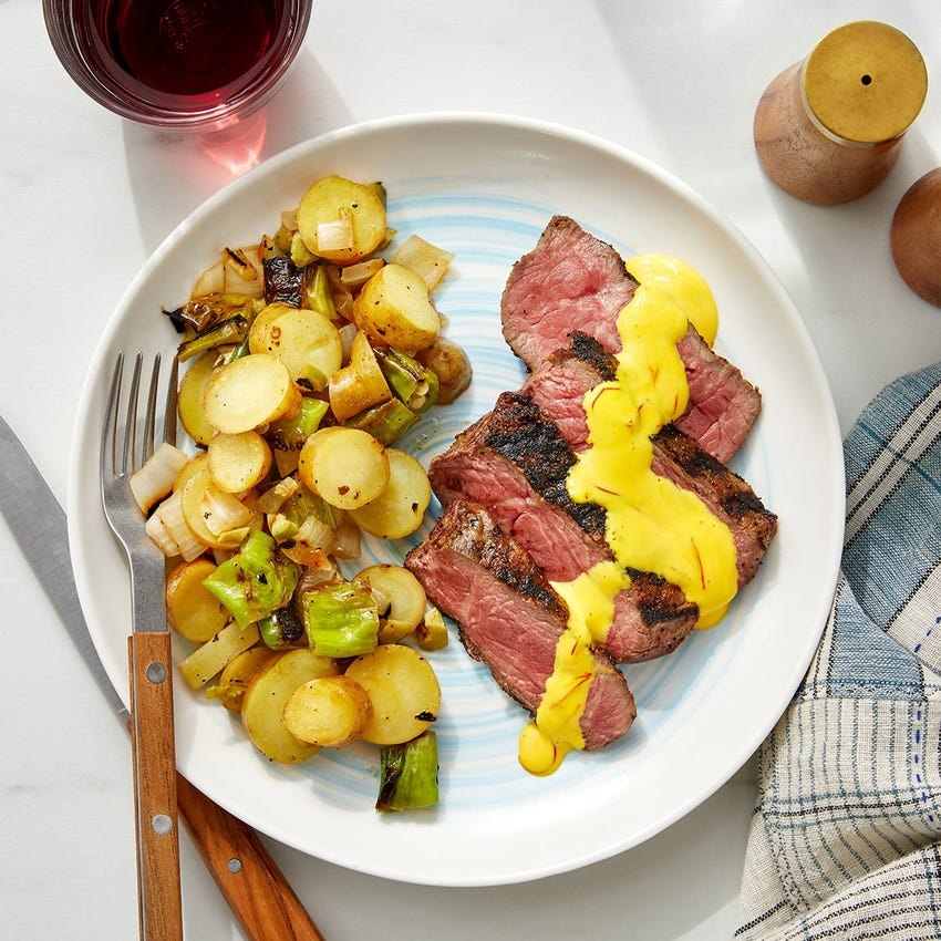 Grilled Spanish Steak & Potatoes with Shishito Peppers & Saffron Mayo