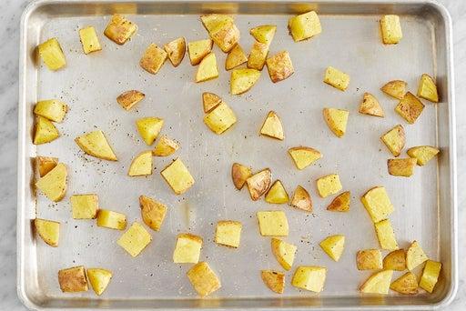 Prepare & roast the potatoes
