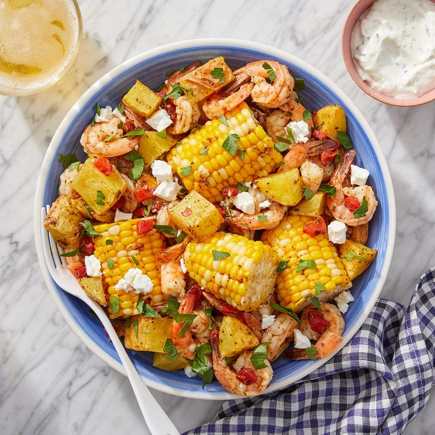 Saffron Shrimp & Corn Boil with Roasted Potatoes & Feta Cheese