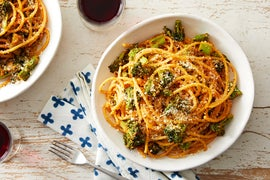 Quick Bucatini with Broccoli & Pecorino Cheese