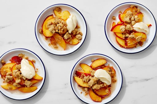 Spiced Peach Crumble with Honey-Whipped Mascarpone