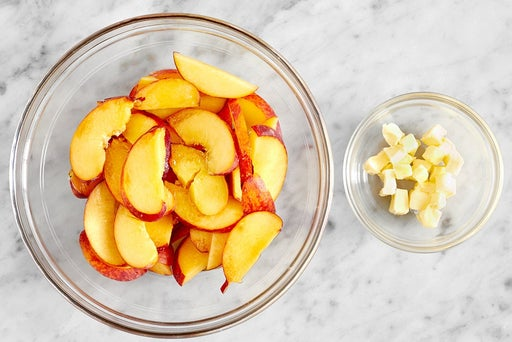 Prepare the ingredients & macerate the peaches