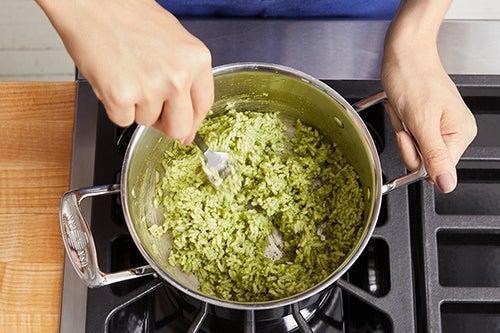 Make the pesto rice