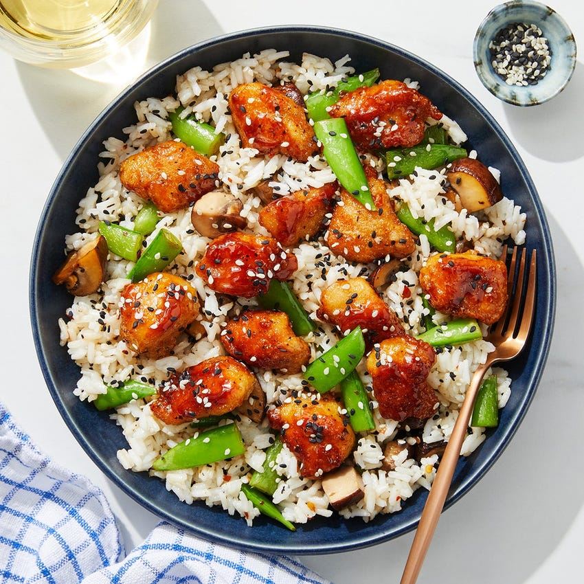 Soy & Butter-Glazed Chicken with Sesame Vegetables & White Rice