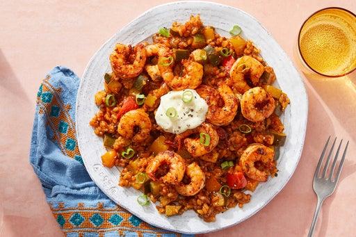 Spanish Shrimp & Rice with Zucchini, Peppers & Garlic Mayo