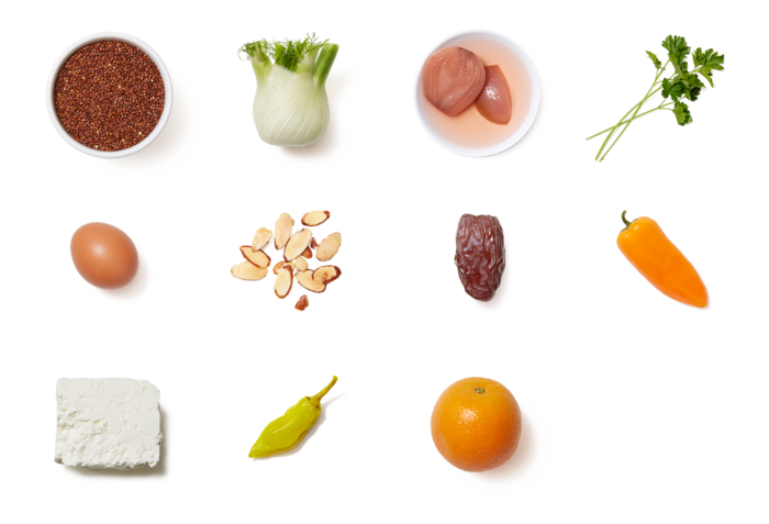 Red Quinoa & Roasted Vegetable Salad with Date-Citrus Vinaigrette