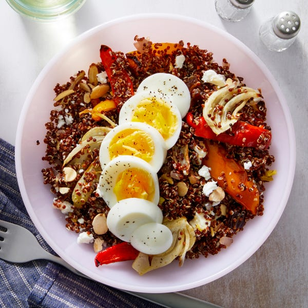 Red Quinoa & Roasted Vegetable Salad with Date-Citrus Vinaigrette