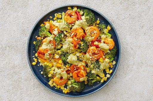 Finish & Serve the Shrimp & Roasted Vegetables