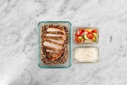 Assemble & Store the Oregano Pork & Quinoa