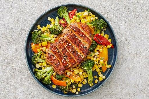 Finish & Serve the Togarashi Pork & Vegetables