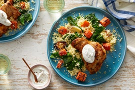 Za'atar-Spiced Chicken Thighs with Veggie Couscous & Pink Lemon Yogurt Sauce