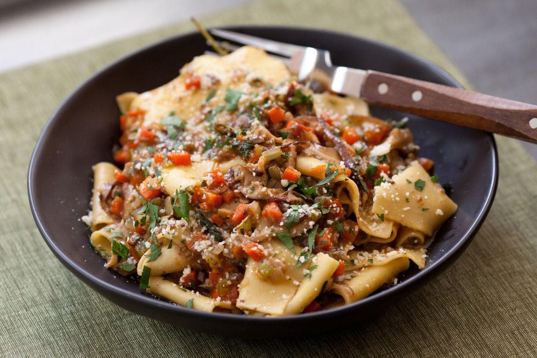 Fresh Fettucelle  with Wild Mushroom Bolognese