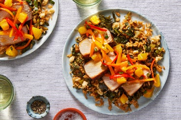 Mexican-Spiced Pork with Collard Green Rice