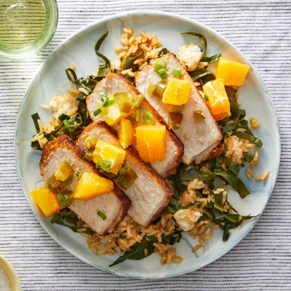 Mexican-Spiced Pork with Citrus Salsa & Collard Green Rice