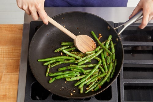 Cook the green beans & serve your dish