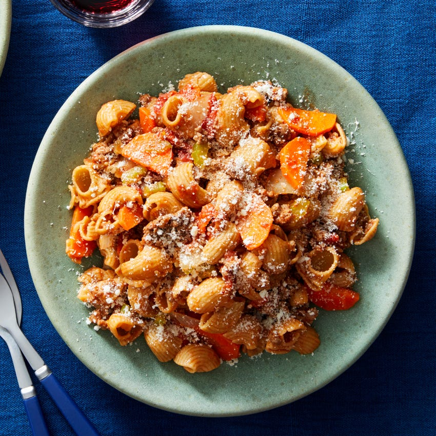 Quick Beef Bolognese with Pipe Rigate Pasta