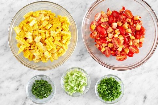 Prepare the ingredients & start the salsa