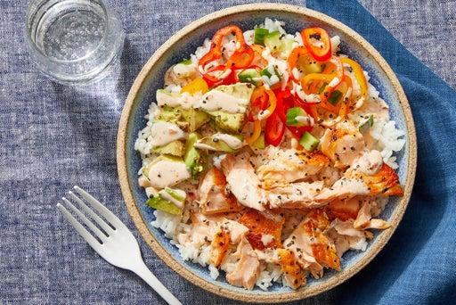 Salmon & Sushi Rice Bowls with Avocado & Spicy Mayo