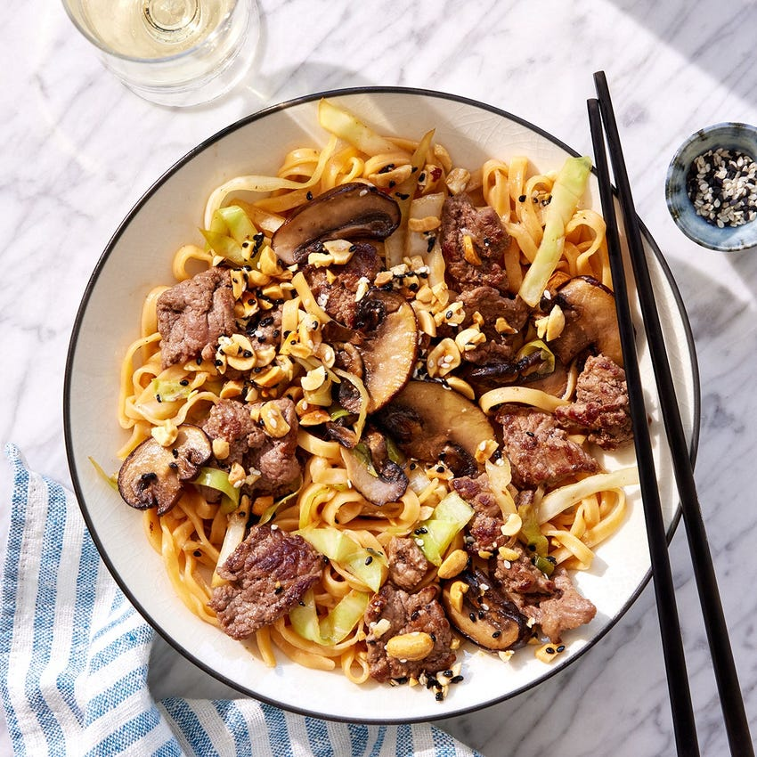Orange Beef & Noodles with Cabbage & Sesame Peanuts