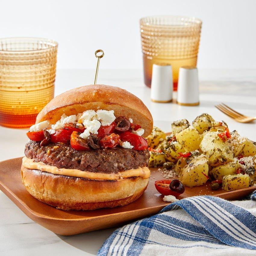 Greek Feta Burgers with Salsa Verde Potatoes & Parmesan