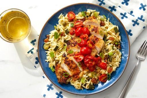 Pan-Seared Chicken & Tomato Jam with Orzo, Zucchini & Raisins