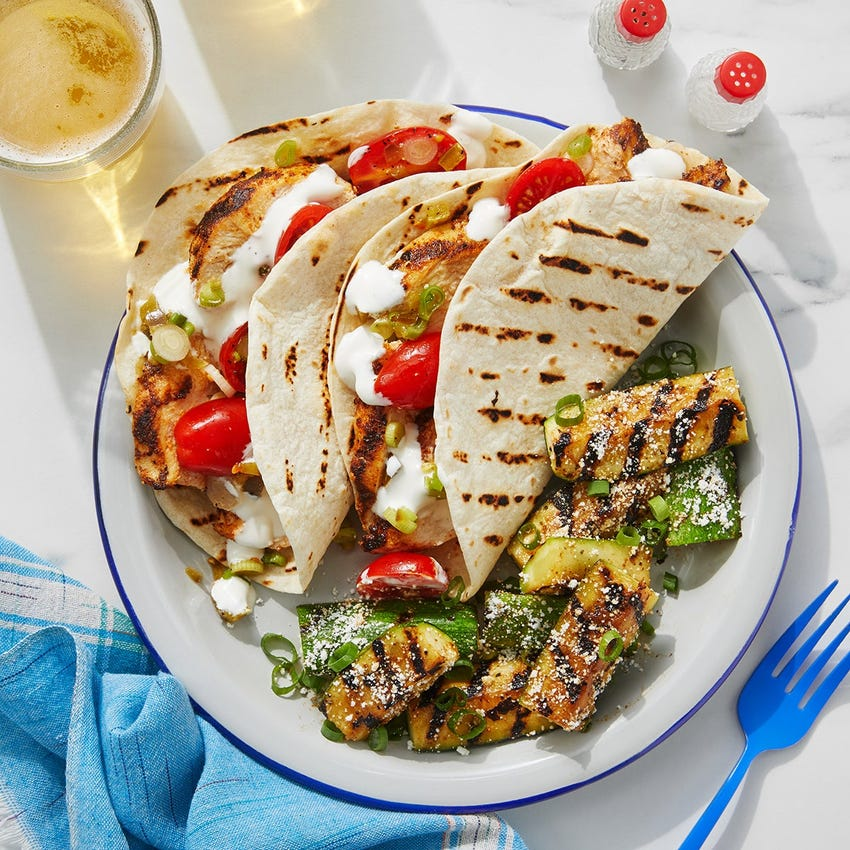 Grilled Chicken Tacos with Fresh Tomato Salsa & Lime Sour Cream