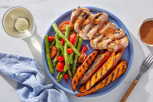 Grilled Pork & Sweet Potato Wedges with Spicy BBQ Mayo