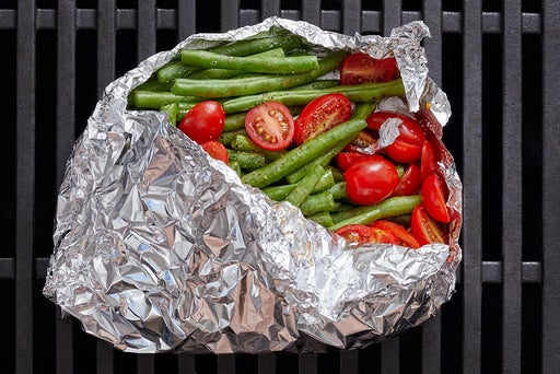 Prepare the foil packet & grill the vegetables