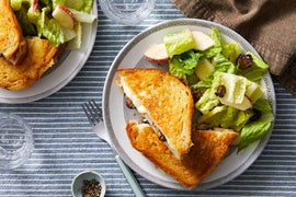 Mushroom & Fontina Grilled Cheese with Fig & Apple Salad