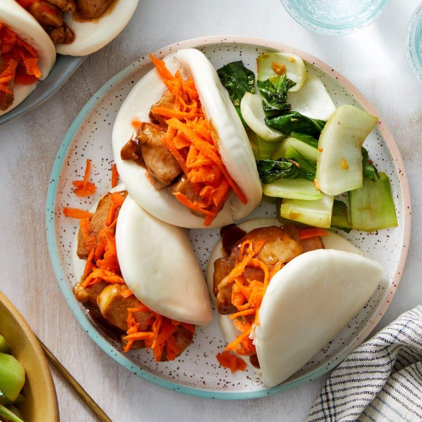 Hoisin Chicken Steam Buns with Sesame Carrots & Ginger Bok Choy