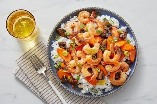 Sweet Chili Shrimp with Sautéed Vegetables & White Rice
