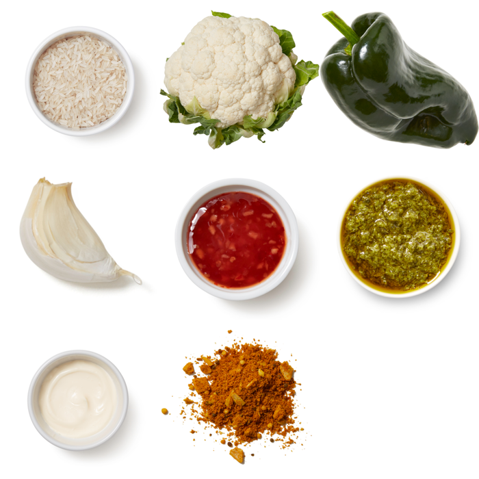 Curried Cauliflower with Garlic Rice & Cilantro Mayo
