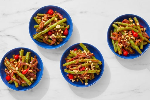 BBQ-Glazed Green Beans & Onion with Peanuts & Peppers