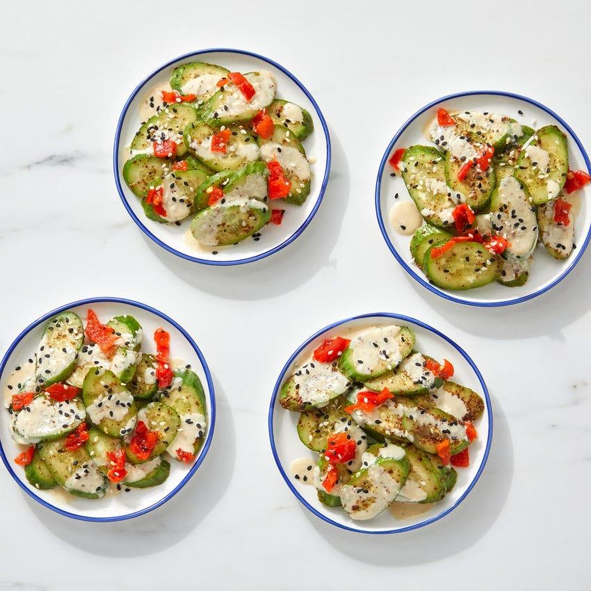 Za'atar Cucumber Salad with Tahini-Lemon Dressing