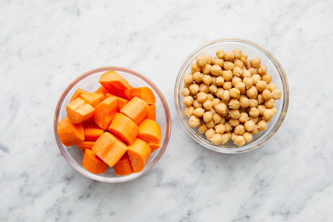 Prepare the carrots & chickpeas: