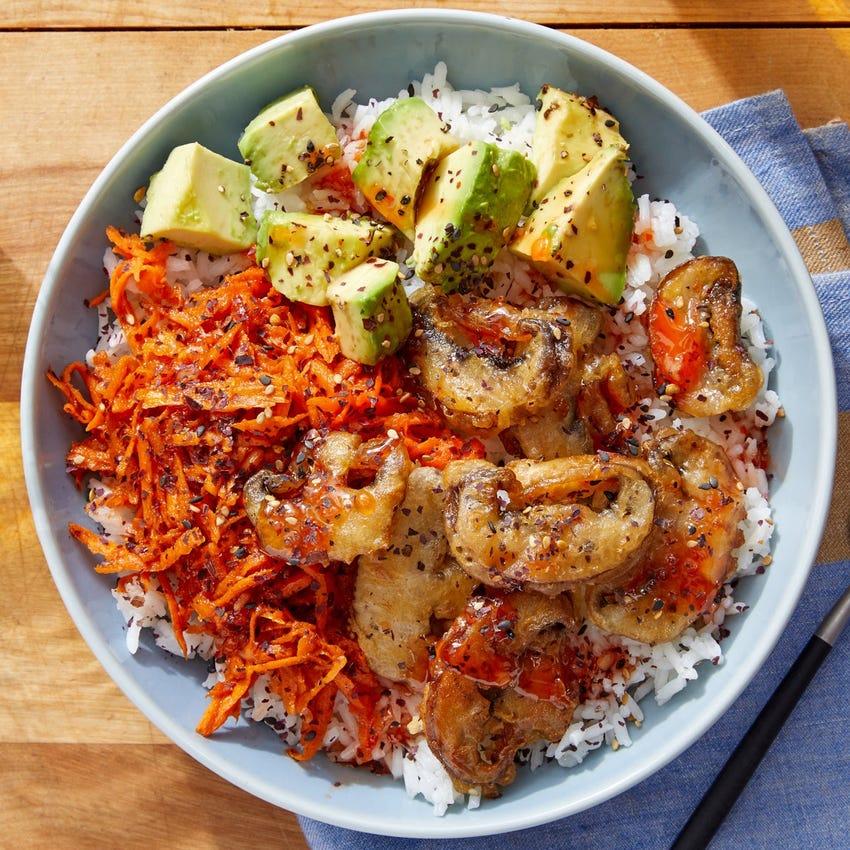 Mushroom Tempura & Avocado Rice Bowl with Spicy Marinated Carrots