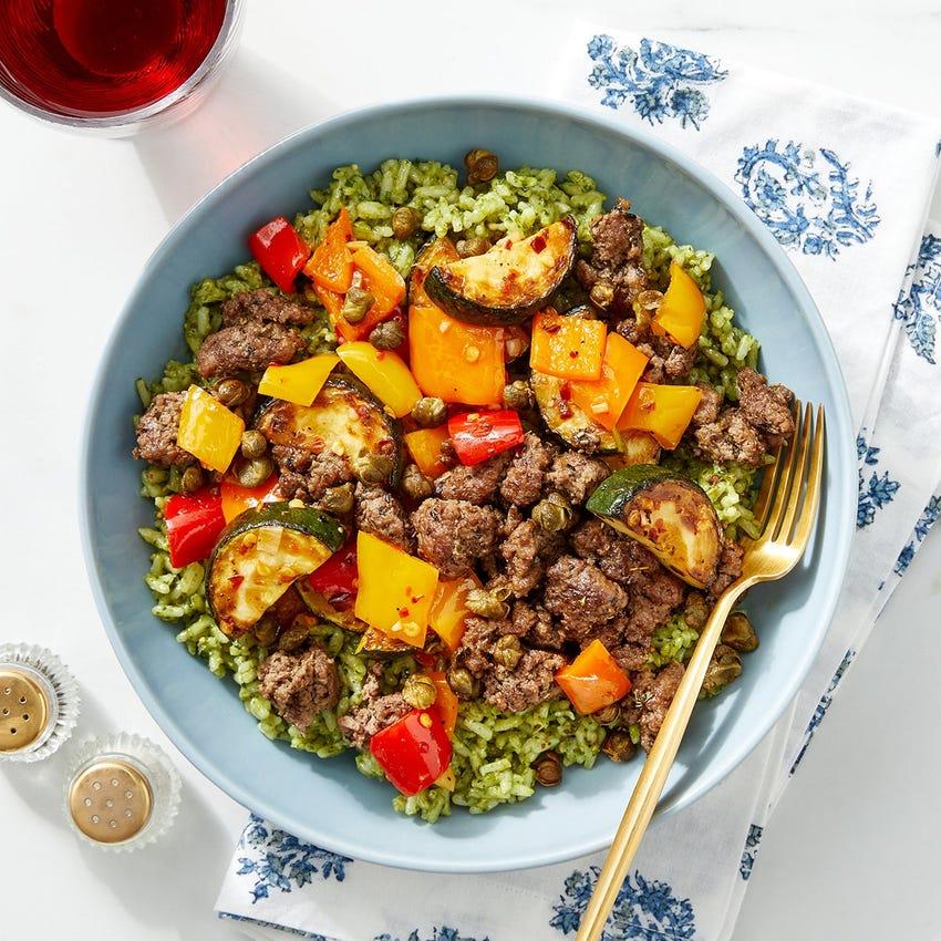 Italian Beef & Pesto Rice with Sautéed Vegetables & Crispy Capers