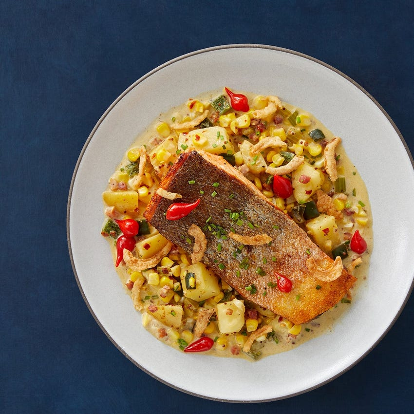 Crispy Skin Trout Fillets with Creamy Chowder-Style Potatoes & Pancetta