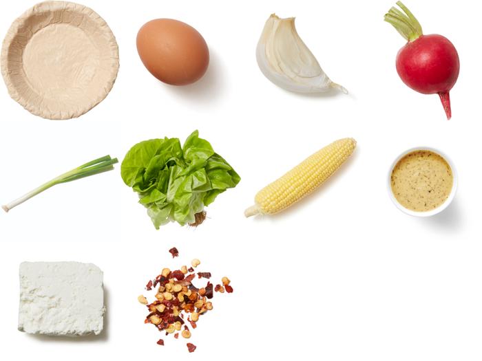 Corn & Feta Quiche with Butter Lettuce & Radish Salad