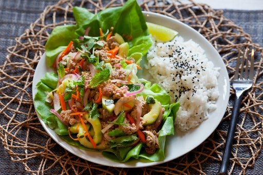 Pork Larb with Coconut Rice