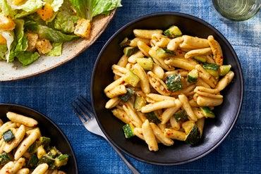 Creamy Cavatelli & Zucchini with Romaine & Orange Salad