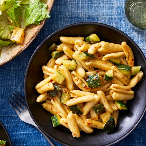 Creamy Cavatelli & Zucchini with Romaine & Orange Salad