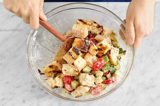 Finish the panzanella & serve your dish